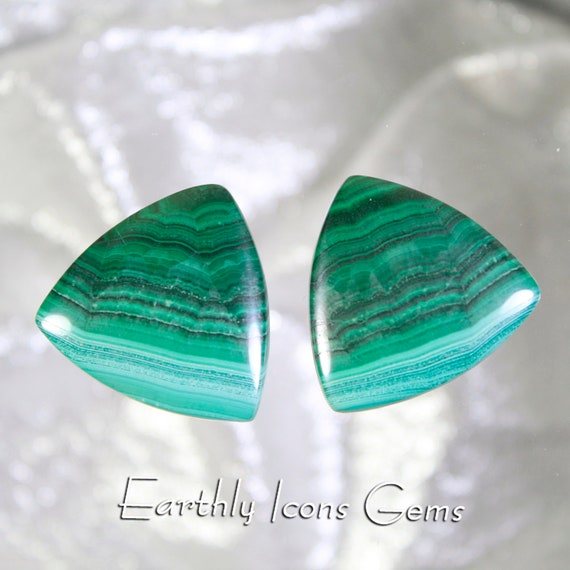 Malachite Designer Cut Matching Pair Cabochons