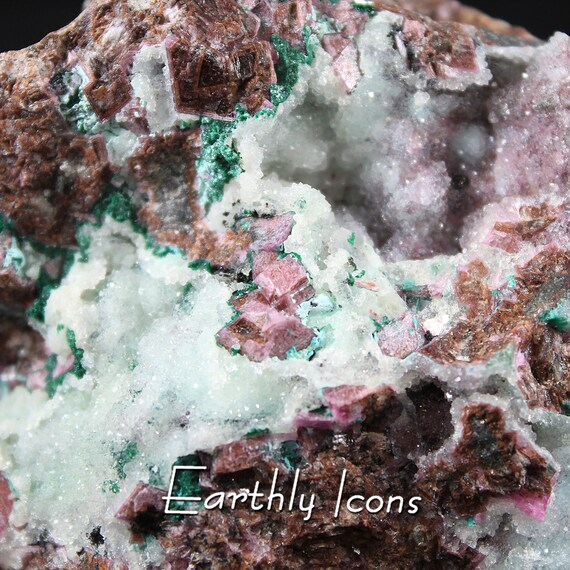 Cobalto Calcite with Malachite and Druzy Chrysocolla Mineral Specimen from Congo; Decorator Display; Gift