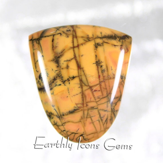 Yellow Feather Jasper Designer Cut Cabochon