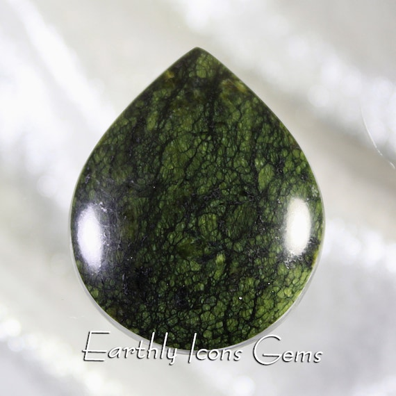 Black Webbed Serpentine Designer Cut Cabochon - New From Tucson 2020, Designer Cabochons
