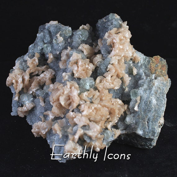 Large (1.16kg) Green Fluorite and Dolomite on Druzy Base Mineral Specimen Cluster from Fujian, China