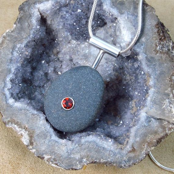 Natural Beachstone Pendant with Garnet and Sterling Silver