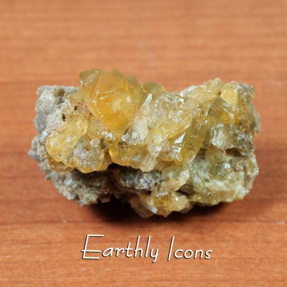 Sparkling Yellow Barite Crystals Mineral Specimen from China