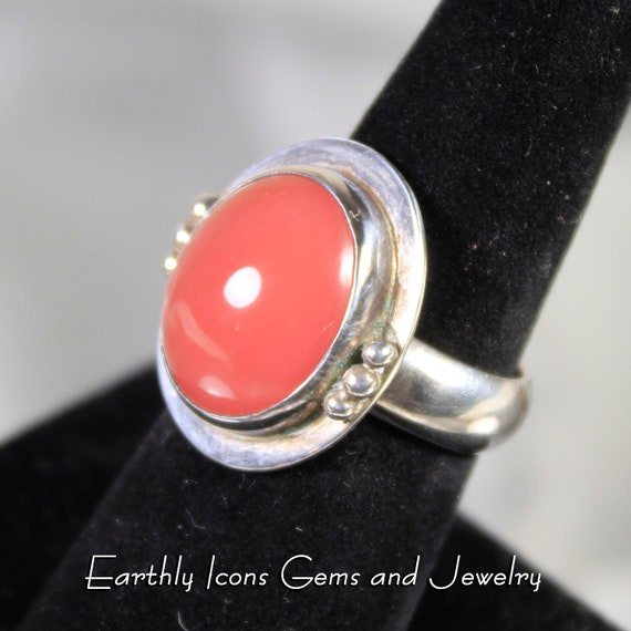 African Reddish Pink Agate Ring in Sterling Silver, Designer Cabochons