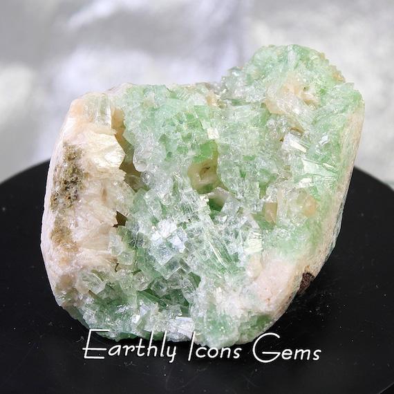 Sparkling Green Apophyllite Mineral Cluster Specimen from India