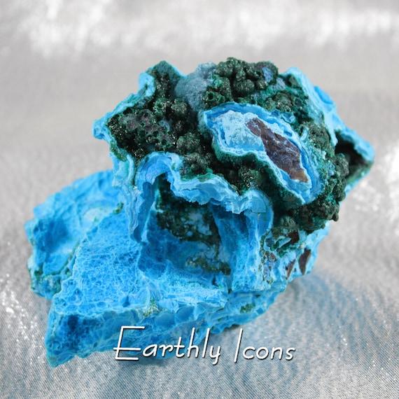 Chyrsocolla With Malachite Balls; Raw Natural Mineral Specimen