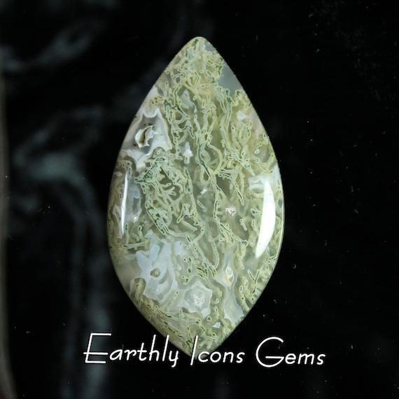 Large Sage Green Moss Agate Designer Cut Cabochon