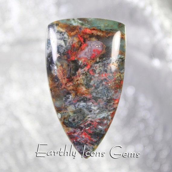 Plasma Agate (with Cinnabar) Designer Cut Cabochon