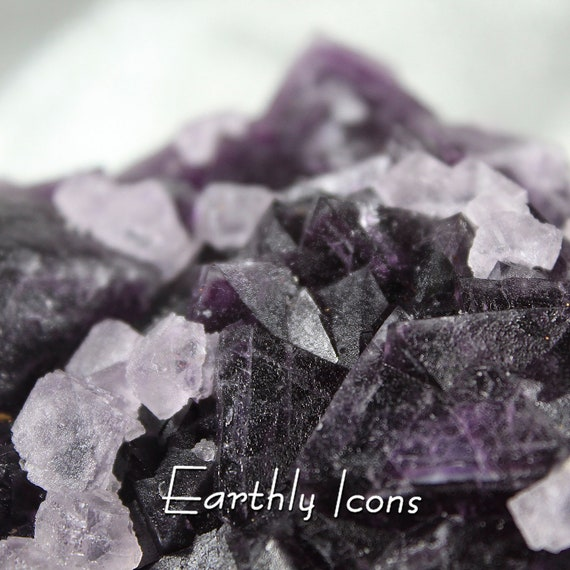 Deep Purple and Colorless Fluorite Cluster Specimen from Zhejiang, China; Raw Mineral Specimen