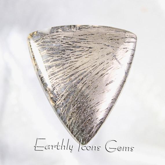 Rare Feather Pyrite Designer Cut Cabochon