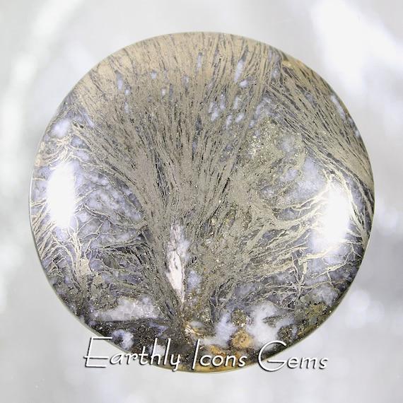 Large Rare Feather Pyrite Designer Cut Specimen Quality Cabochon; Feder Pyrit Cab