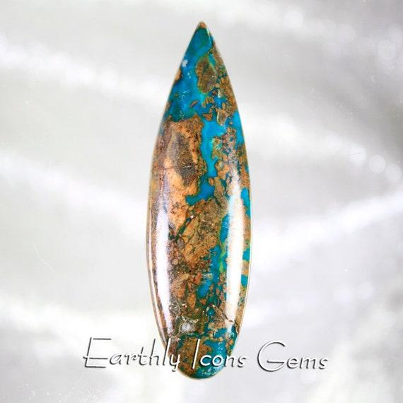 Opalized Gem Chrysocolla and Cuprite Copper Ore Designer Cut Cabochon, Designer Cabochons