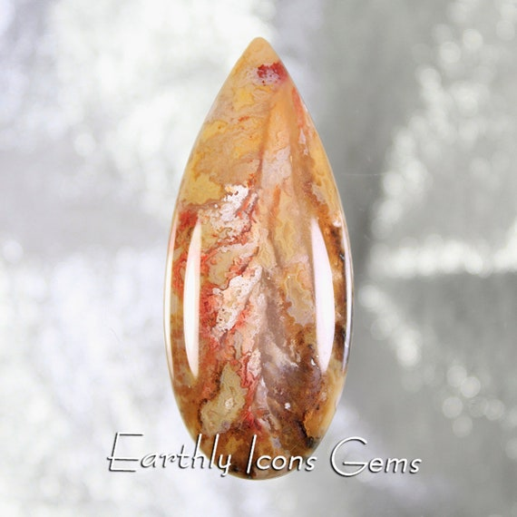 Large Regency Rose Graveyard Point Plume Agate Cabochon