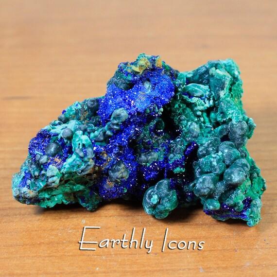 Glittering Azurite and Malachite Raw Natural Mineral Specimen