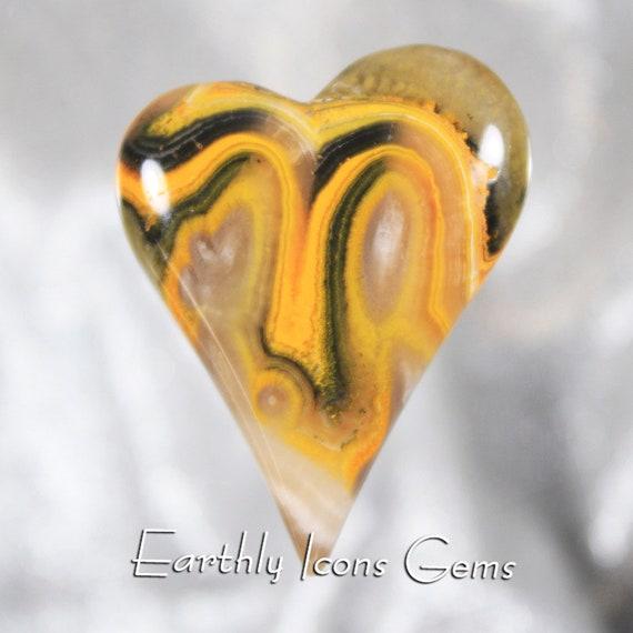 Bumble Bee Jasper Designer Freeform Heart Cabochon