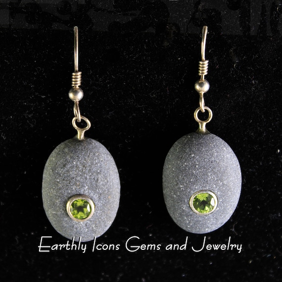 Beachstone and Peridot Earrings