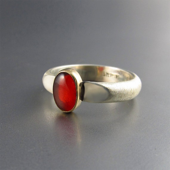 Cherry Opal Ring in 14kt Gold and Sterling Silver