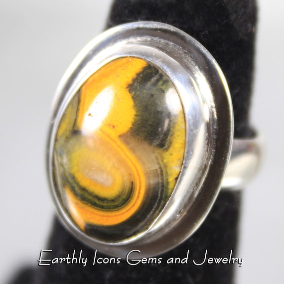 Bumble Bee Jasper Ring in Sterling Silver, Designer Cabochons