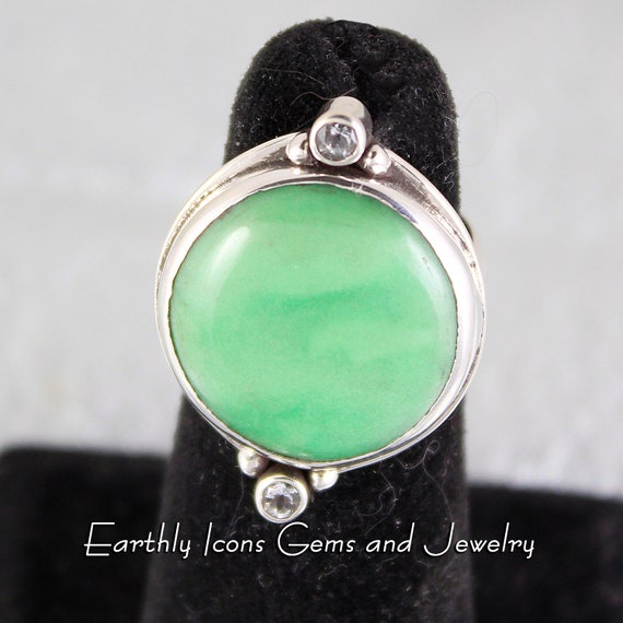 Variscite and Aquamarine Ring in Sterling Silver, Designer Cabochons