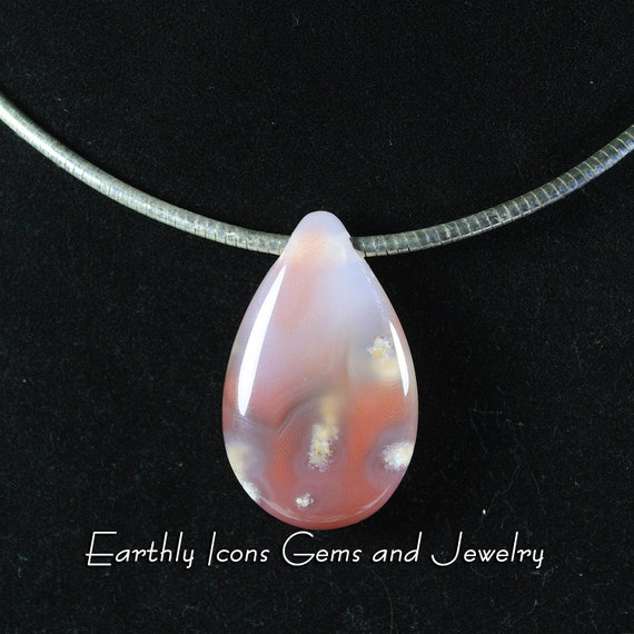 Swali Rose Agate Pendant on Sterling Silver Omega Chain