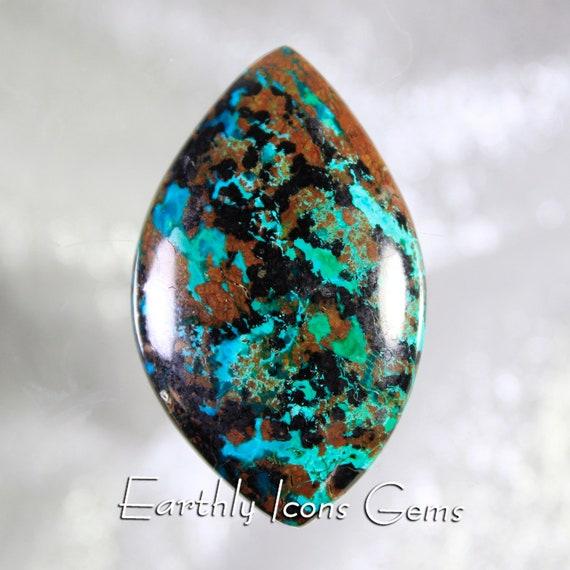 Malaquoise (Malachite/Chrysocolla/Cuprite/Tenorite) Designer Cut Cabochon, Designer Cabochons