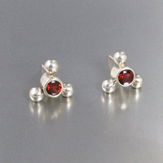 Garnet Earrings in Sterling Silver