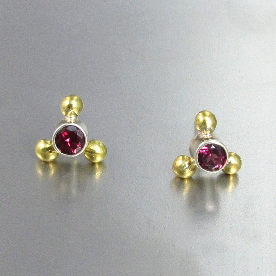 Rhodolite Garnet Earrings in Sterling Silver and 18kt Gold