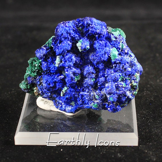 Glittering Azurite Balls and Chatoyant Malachite Dual-Sided Mineral Specimen; Raw Mineral Specimen