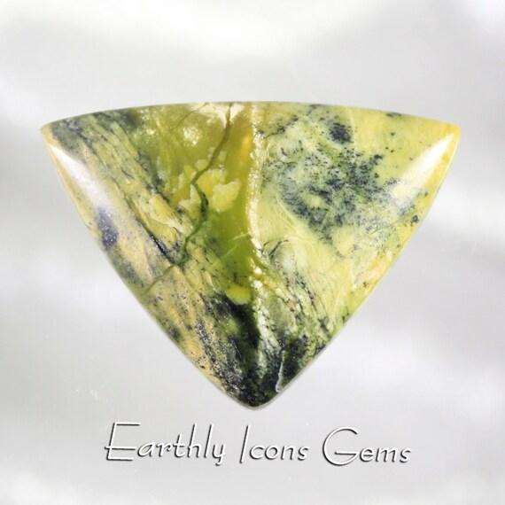 Lemon Turquoise (Tiggerite and Hematite) Designer Cut Cabochon, Designer Cabochons