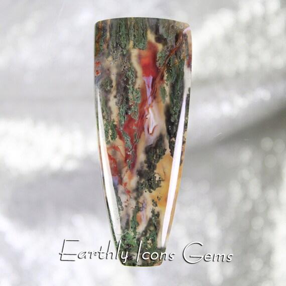 Rare Seven Troughs Moss Agate Designer Cut Cabochon