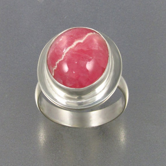 Rhodochrosite Ring in Sterling Silver, Designer Cabochons
