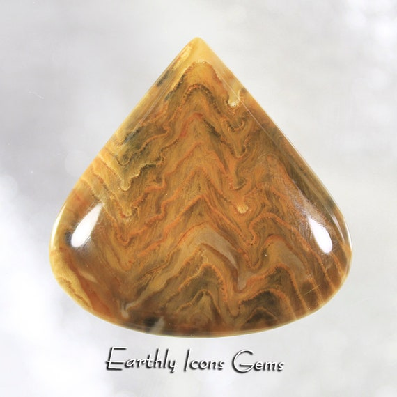 Herringbone Pattern Petrified Wood Designer Cut Cabochon