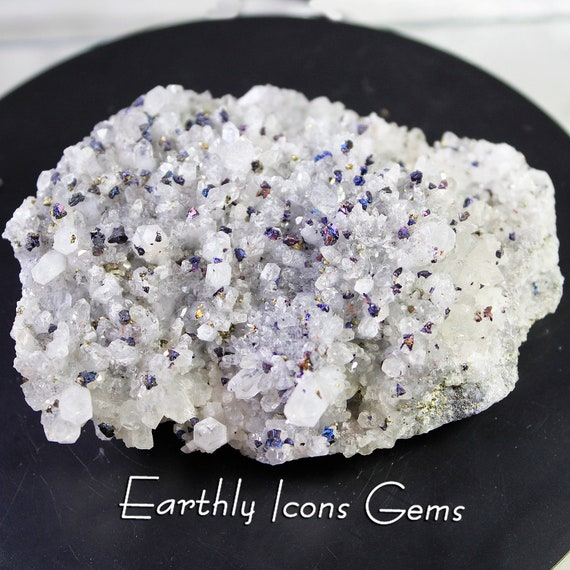 Iridescent Chalcopyrite (Bornite) in Quartz Cluster Mineral Specimen