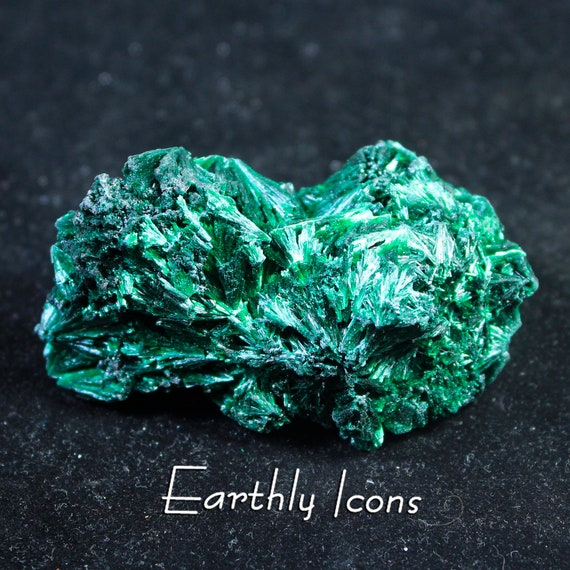 Fibrous Chatoyant Malachite Specimin / Raw Metaphysical Mineral / Velvet Green Collector Stone / Congo