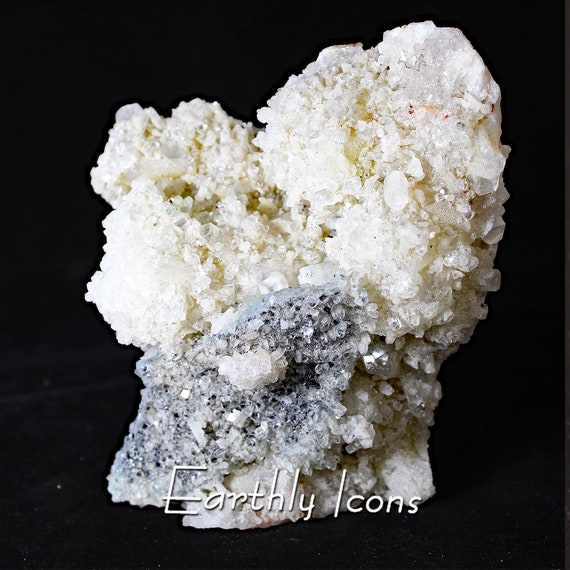 Large (766g) Gemmy Apophyllite and Druzy Blue Chalcedony Mineral Cluster Specimen from China