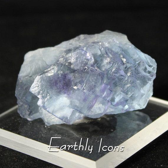 Blue Fluorite With Purple from Yaoganxian Mine, Hunan Province, China
