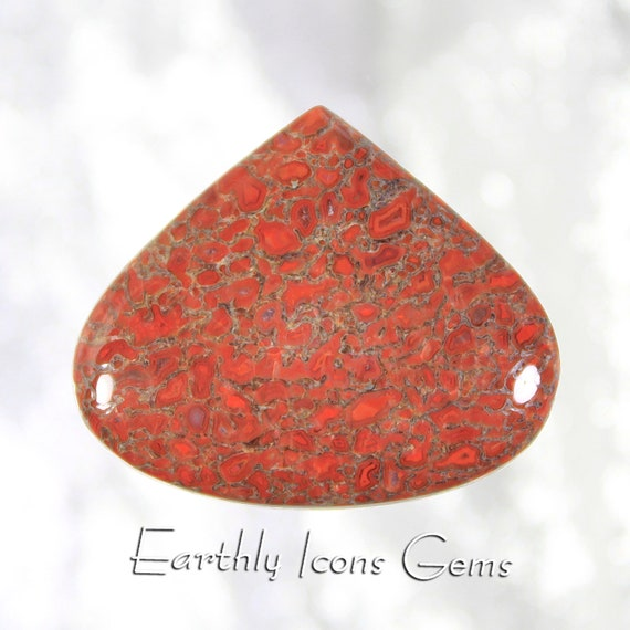 Red Fossilized Dinosaur Bone Designer Cut Cabochon