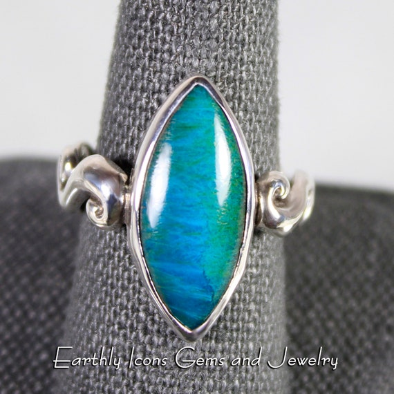 Rare Gem Silica with Sagenite Ring in Sterling Silver, Designer Cabochons