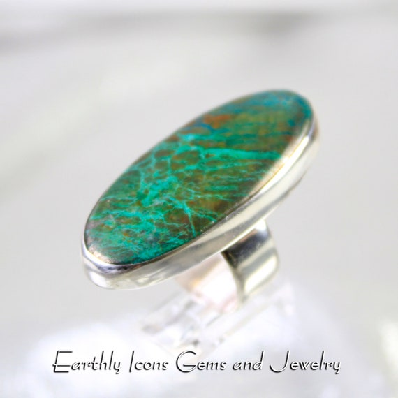 CUSTOM ORDER - RESERVED for Lori - Ring With Parrot Wing Chysocolla