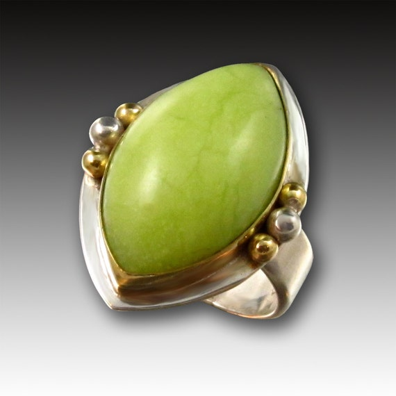 Kiwi Green Opal Ring in 18kt Gold and Sterling Silver, Designer Cabochons
