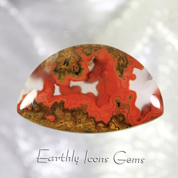 Top Grade Moroccan Seam Agate With Spherolites Designer Cut Cabochon