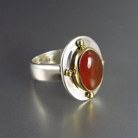 Carnelian Ring in 18kt Gold and Sterling Silver, Designer Cabochons