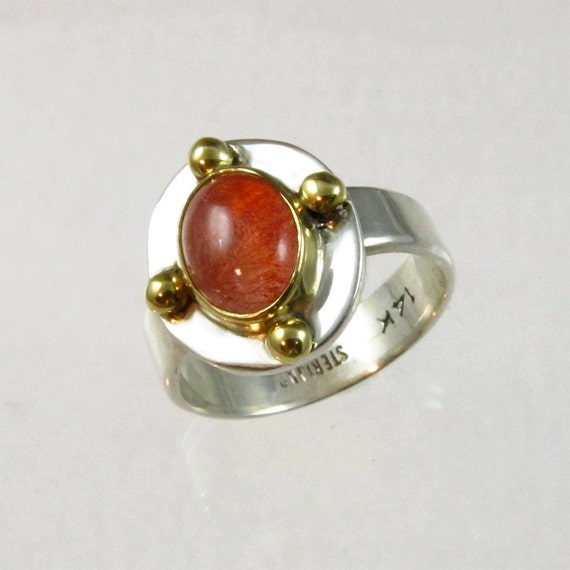 Sterling Silver and 14kt Gold Ring with Natural Strawberry Quartz Cabochon, Designer Cabochons