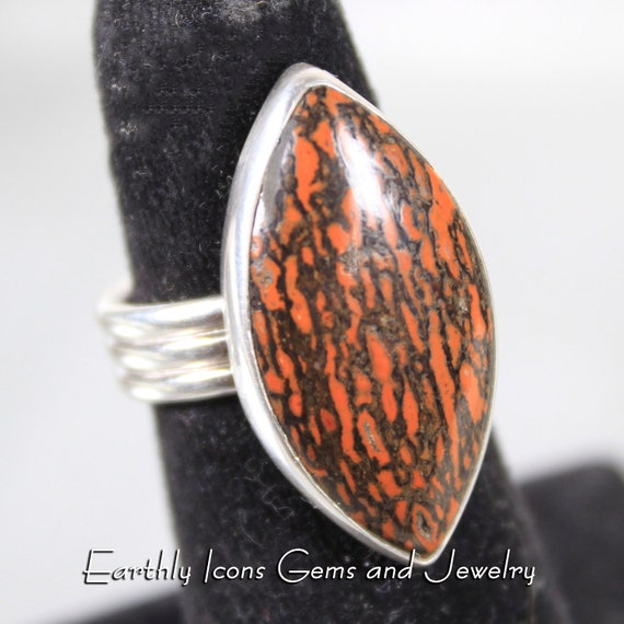Red and Black Dinosaur Bone Ring in Sterling Silver, Designer Cabochons