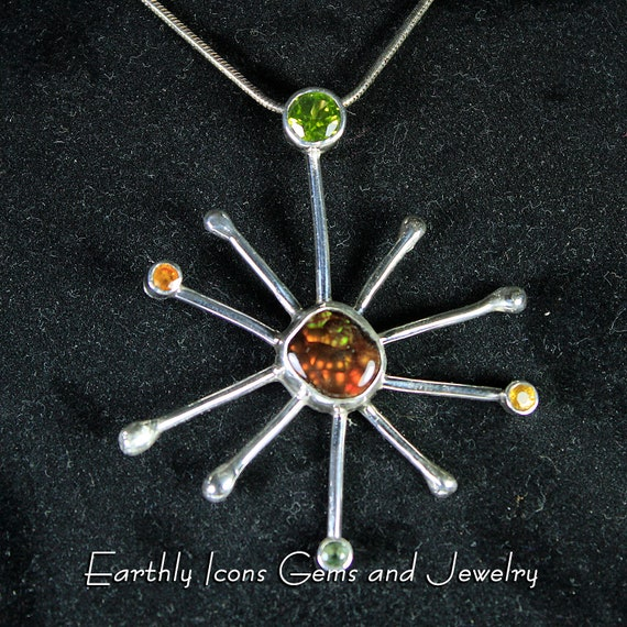 Starburst with Fire Agate, Peridot and Sapphires Pendant in Sterling Silver