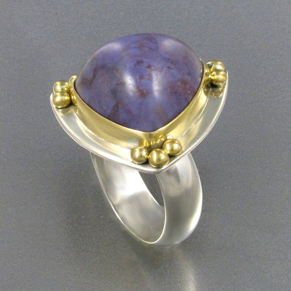 Turkish Lavender Jade Statement Ring in 18kt Gold and Sterling Silver, Designer Cabochons