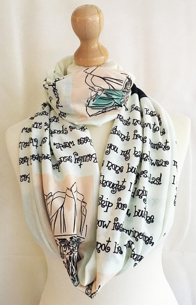 Beauty And The Beast Gift Infinity Scarf Book Scarfliterary Etsy