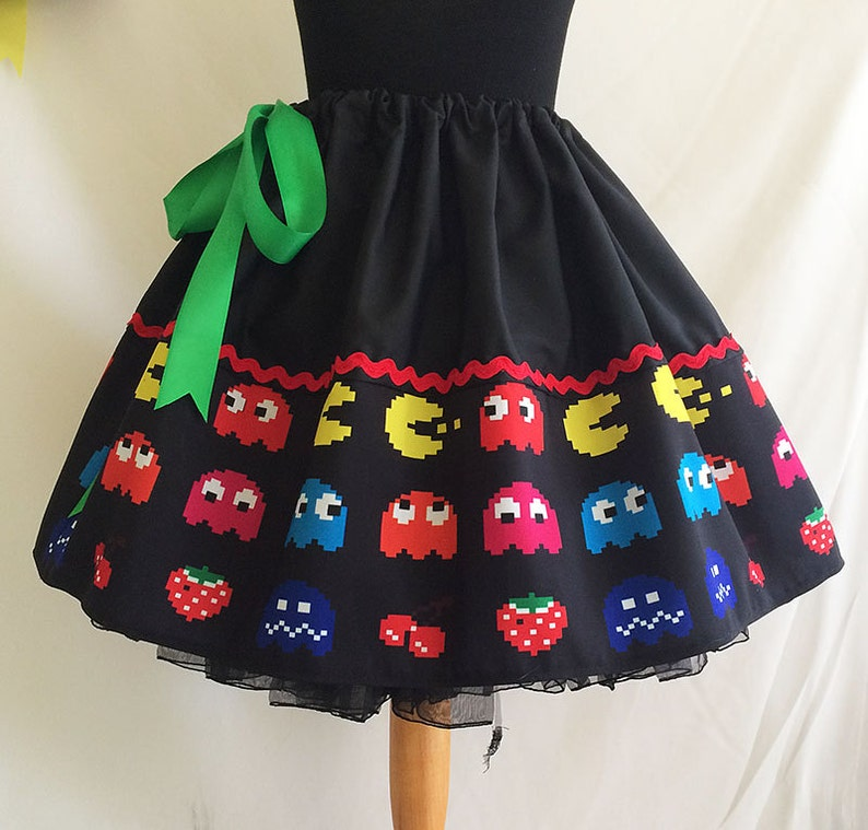 Retro Video Games skirt  Geek Clothes ALL SIZES 1980s image 0