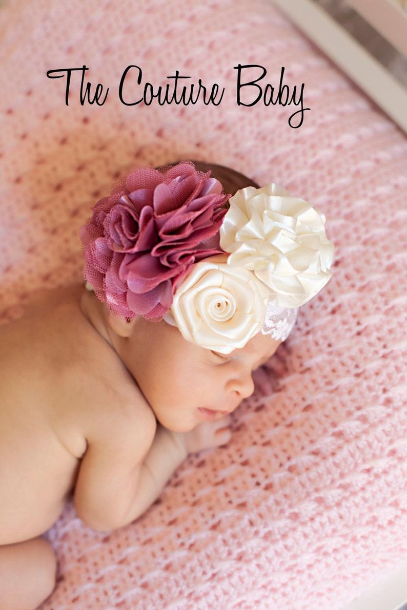 Vintage Ivory Mauve Rose Flower Lace Headband