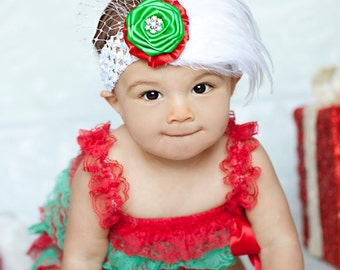 Red Green White Christmas Rosette & Feather Netting Crystal Accent Newborn Infant Toddler Big Girl Christmas Headband